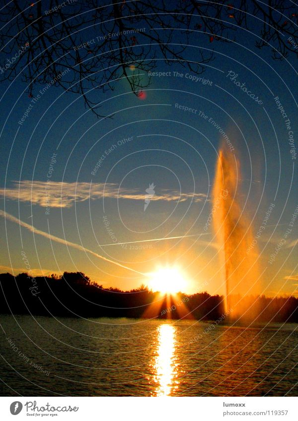 Water Sky Tree Sun Blue Clouds Yellow Lake Airplane Branch Spain Sunset Fountain Vapor trail Water fountain Madrid