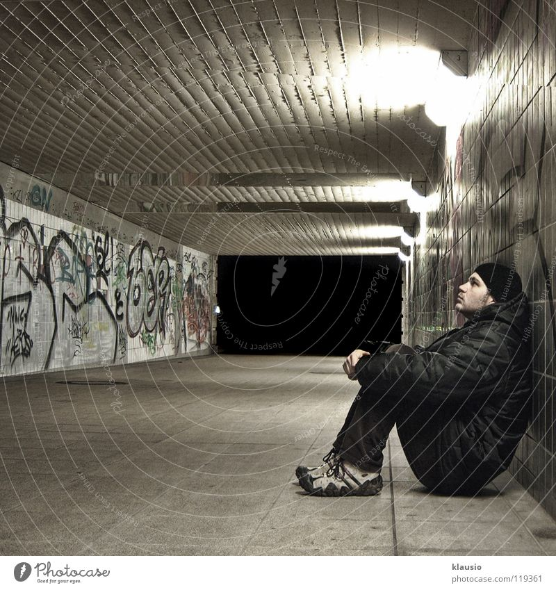 Waiting Tunnel Boredom Night Wall (barrier) Weary Underpass dismount Corridor