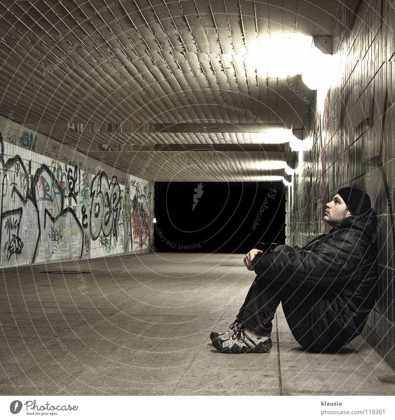 Wall (barrier) Wait Tunnel Boredom Underpass Weary