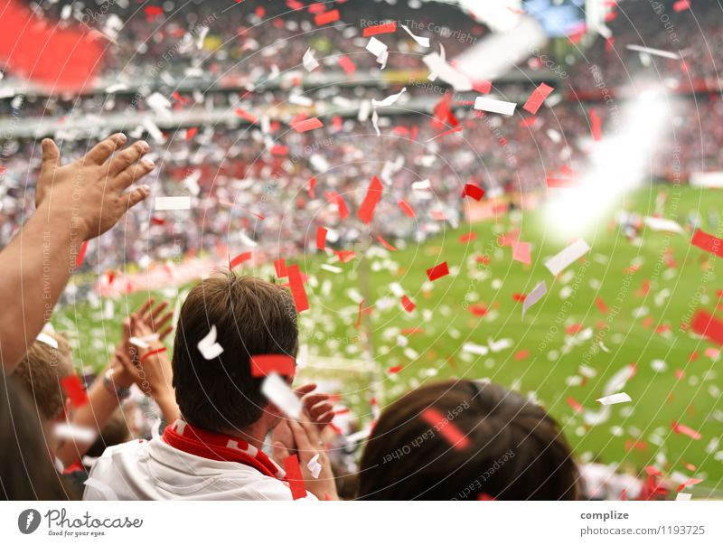 Human being Youth (Young adults) White Red Young man Joy Emotions Feasts & Celebrations Moody Success Fantastic Soccer Audience Sporting event Confetti