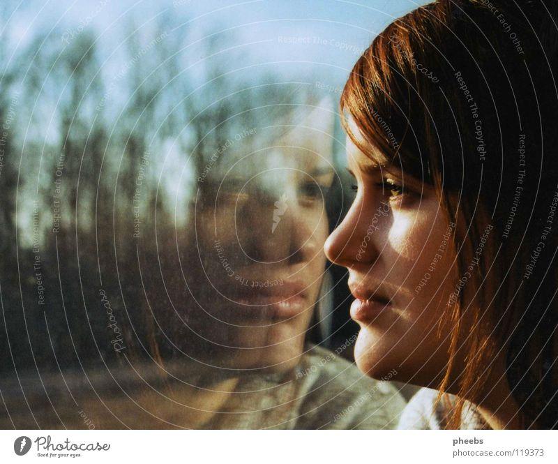 my second me Woman Window Reflection Tree Meadow Railroad Silhouette Portrait photograph Radiation Profile Face