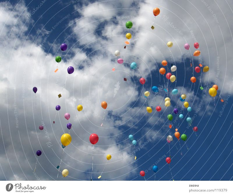 black and white in color Colour photo Multicoloured Day Sporting event Sky Clouds Balloon Flying Helium