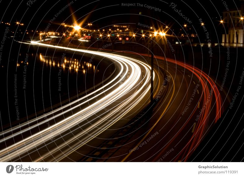 Saarbrücken city motorway Highway Saarland Stripe Night Long exposure Traffic infrastructure GraphicSolution GS Street Car cars freeway