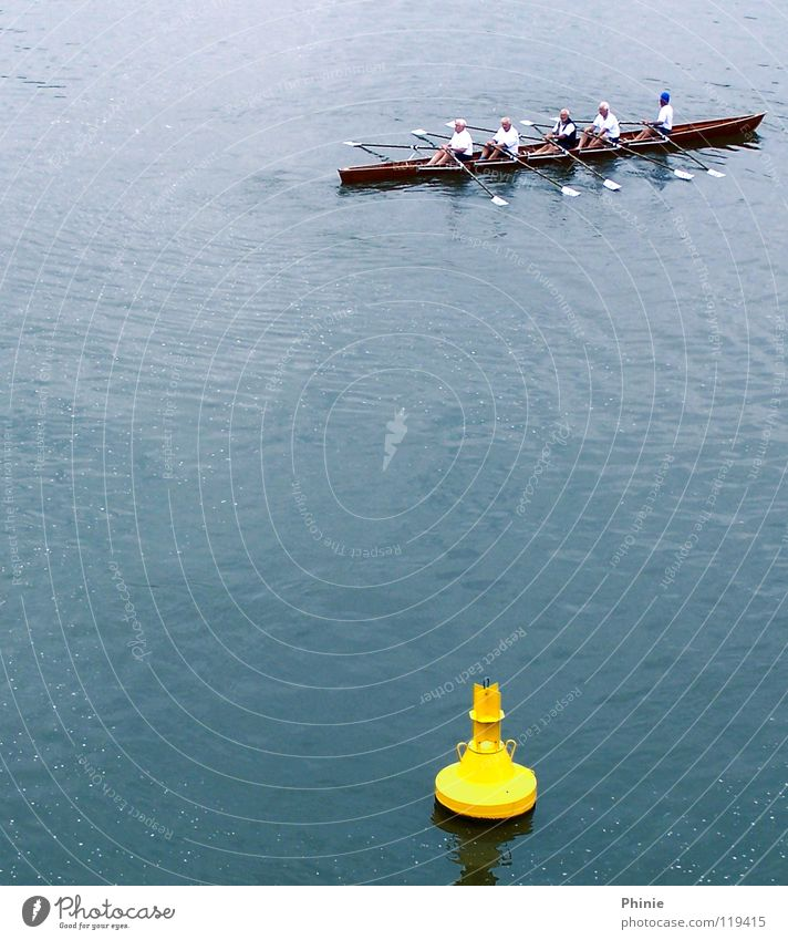 Lightly targeted?! Rowing Yellow Buoy Aim Direction Backwards Wet Reflection Under Perspiration 5 Contentment Chord Railroad Sports team Sporting event Playing