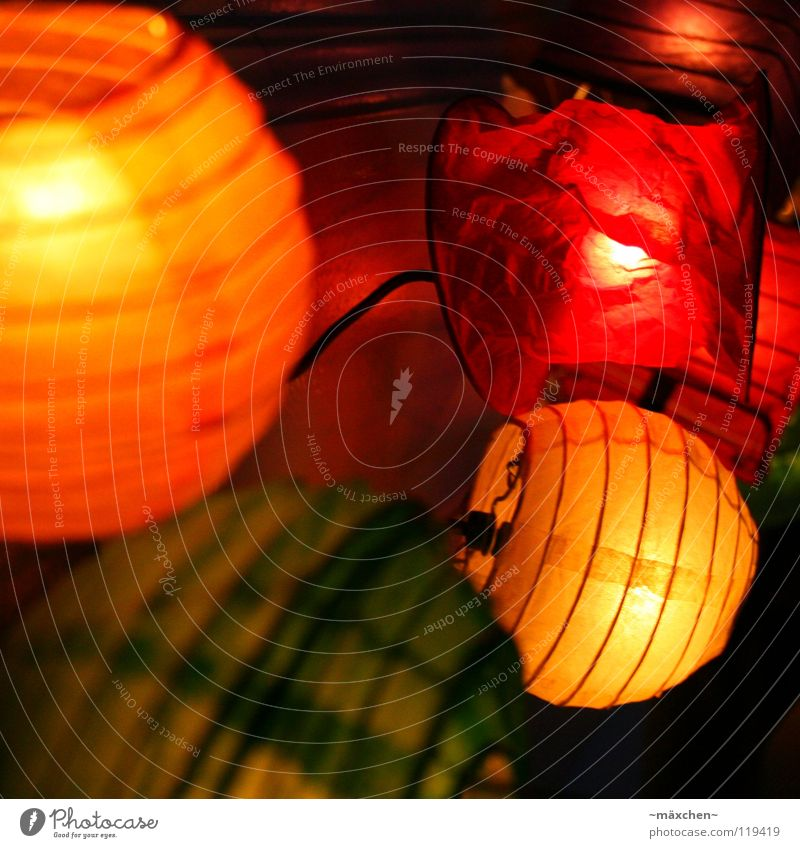 Colourful Flat (apartment) Decoration Bedroom Technology Warmth Bright Green Orange Red Moody Safety Safety (feeling of) Romance Lantern Fairy lights Physics