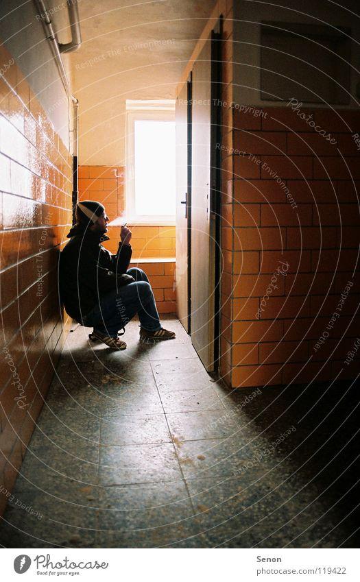 5 min rest please Light Narrow Crouch Derelict Smoking Silhouette Orange Toilet Door Tile