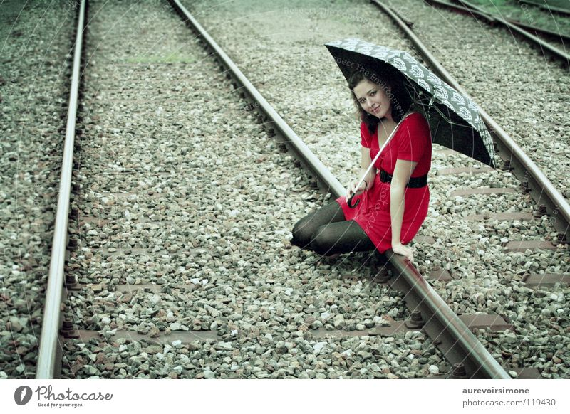 Red Colour Railroad Retro Umbrella Railroad tracks Vintage