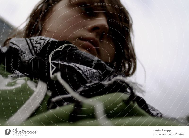 Number Three Youth (Young adults) Feminine Cold Winter Ramp Places Park Nostril Brown Brunette Curl Sweater Blur Scarf Checkered String Clothing Bad weather