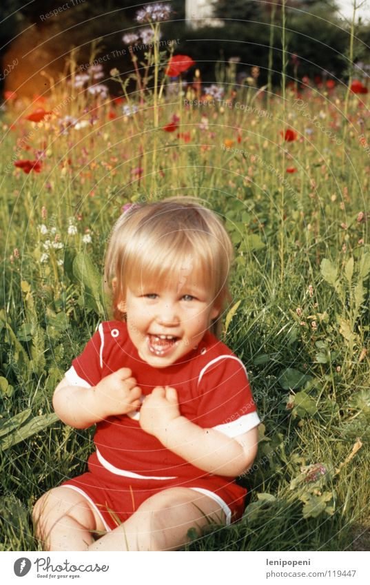 poppy day Joy Happy Summer Garden Girl Nature Warmth Flower Meadow Blonde Blossoming Feasts & Celebrations Smiling Laughter Sit Happiness Fresh Healthy Funny