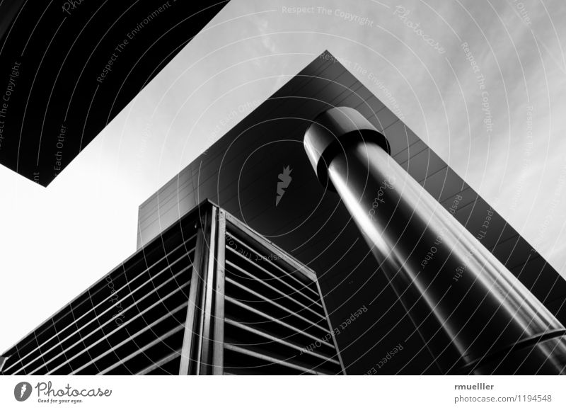 cubes Innsbruck Austria Town Building Architecture Work and employment Breathe Glittering Clean Black White Success Power Brave Modern Wide angle