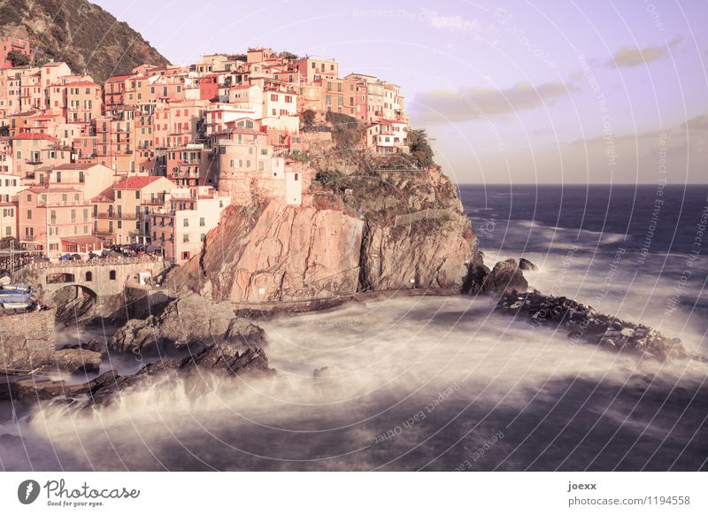 sunglasses Water Sky Clouds Horizon Summer Beautiful weather Waves Coast Ocean Manarola Village House (Residential Structure) Facade Old Tall Wild Brown Romance