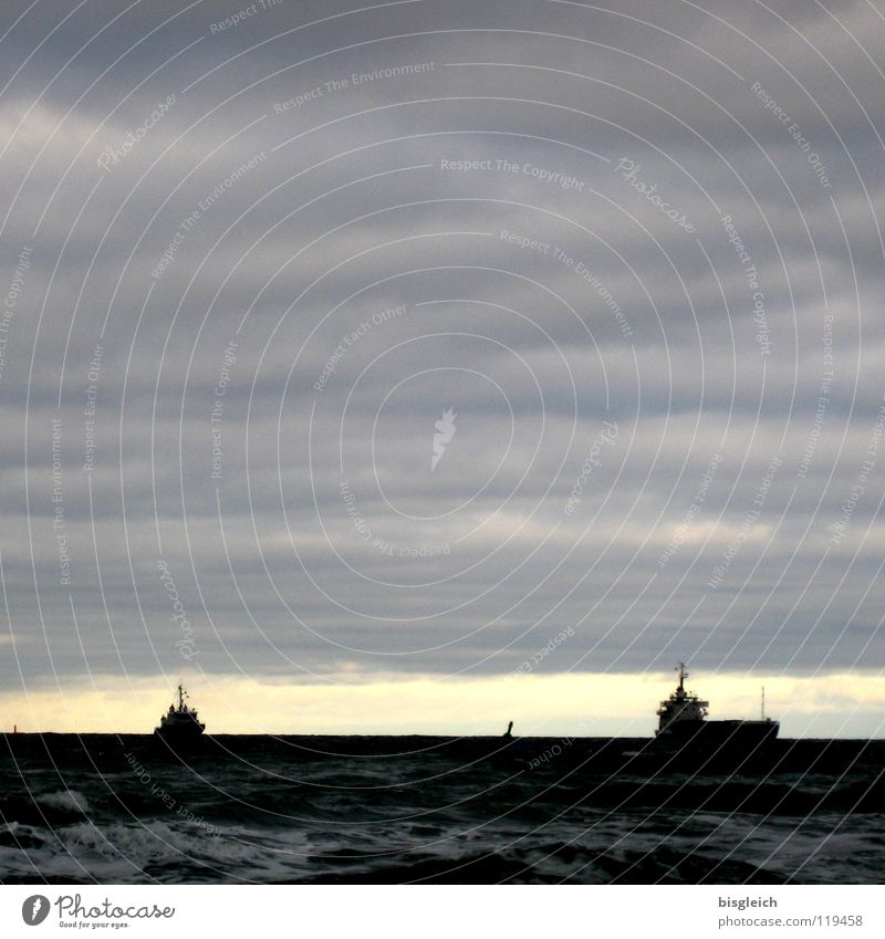 Water Sky Ocean Clouds Far-off places Gray Watercraft Waves Navigation Baltic Sea Evening sun