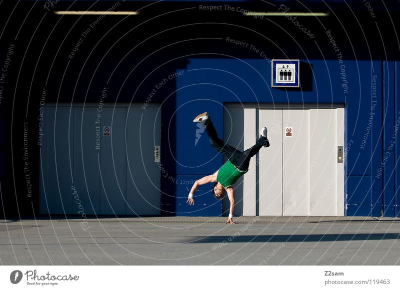 Human being Man Hand Youth (Young adults) Green Blue Sports Playing Style Movement Legs Dance Masculine Concrete Signs and labeling Modern