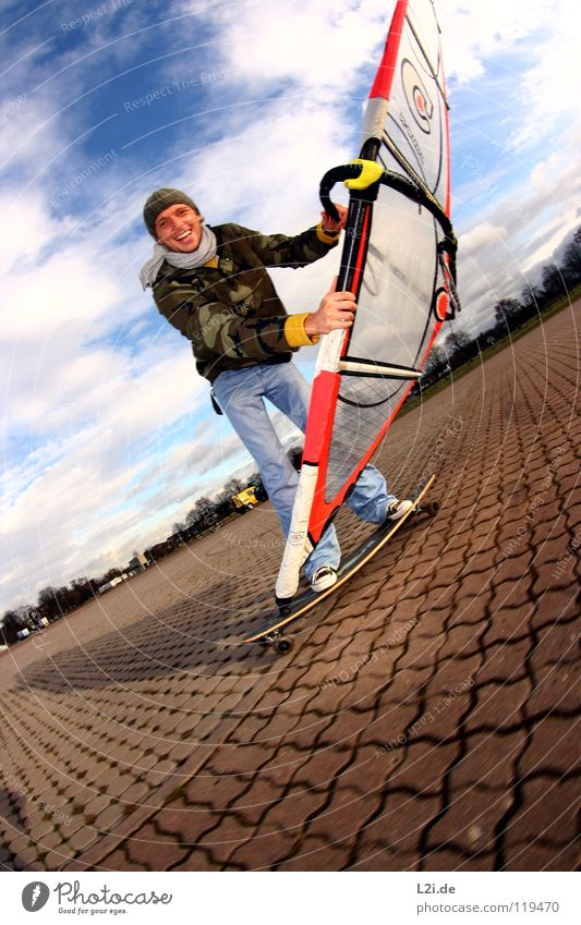 STREET[WIND]SURFER I Skateboarding Windsurfing Man Parking lot Sports Action Cap Luff Clouds Fisheye Extreme Leisure and hobbies Playing Extreme sports Sail