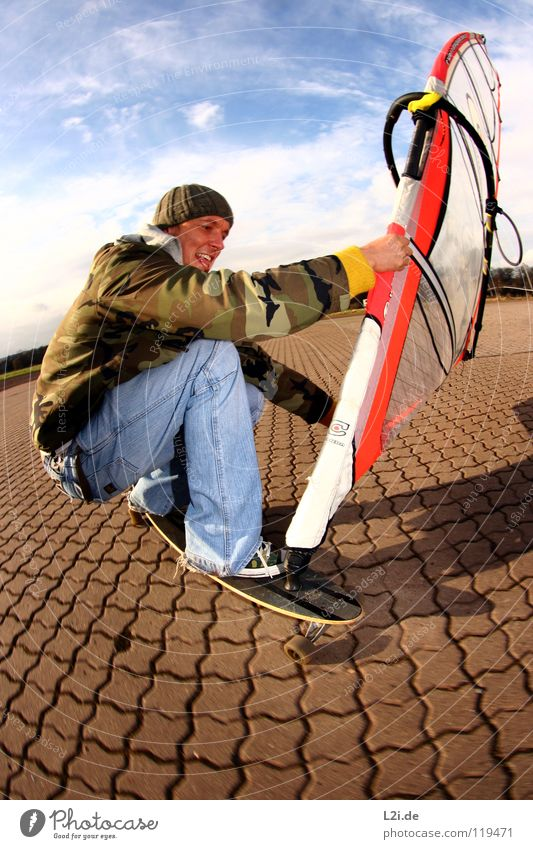 Sky Man Joy Clouds Sports Playing Laughter Leisure and hobbies Action Jeans Cap Surfing Skateboarding Electricity pylon Skateboard Parking lot