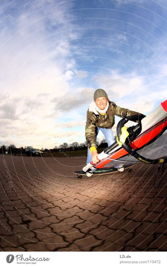 STREET[WIND]SURFER III Skateboarding Windsurfing Man Parking lot Sports Action Cap Luff Clouds Fisheye Extreme Extreme sports Leisure and hobbies Playing Sail