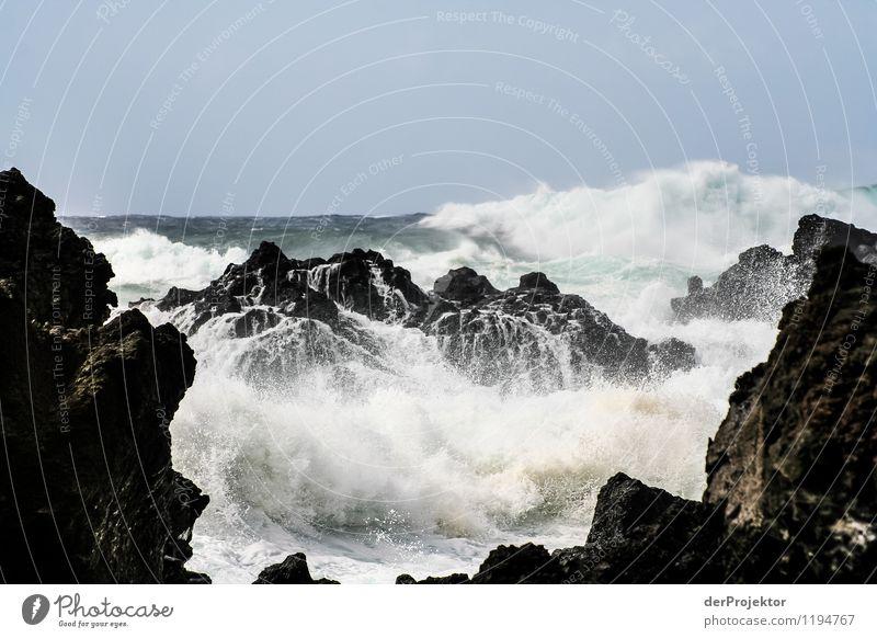 Thundering sea Environment Nature Landscape Plant Animal Elements Summer Bad weather Rock Waves Coast Lakeside Ocean Island Cold Emotions Power Unwavering