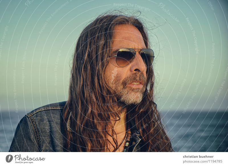 self Man Adults 1 Human being 45 - 60 years Sky Horizon Summer Ocean Brunette Long-haired Observe Looking Contentment Power Romance Calm Authentic Life Longing