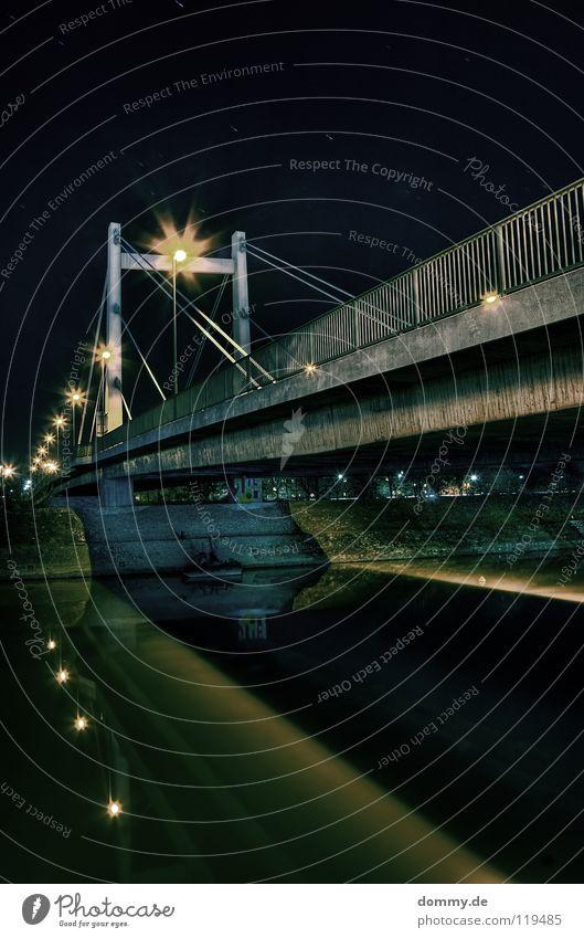 Old City Dark Coast Germany Concrete Rope Bridge River Harbour Mirror Steel Main Handrail Column Flow