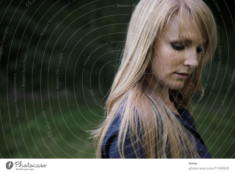 Human being Woman Beautiful Calm Adults Feminine Think Moody Park Dream Blonde Stand Wait Observe Protection Safety