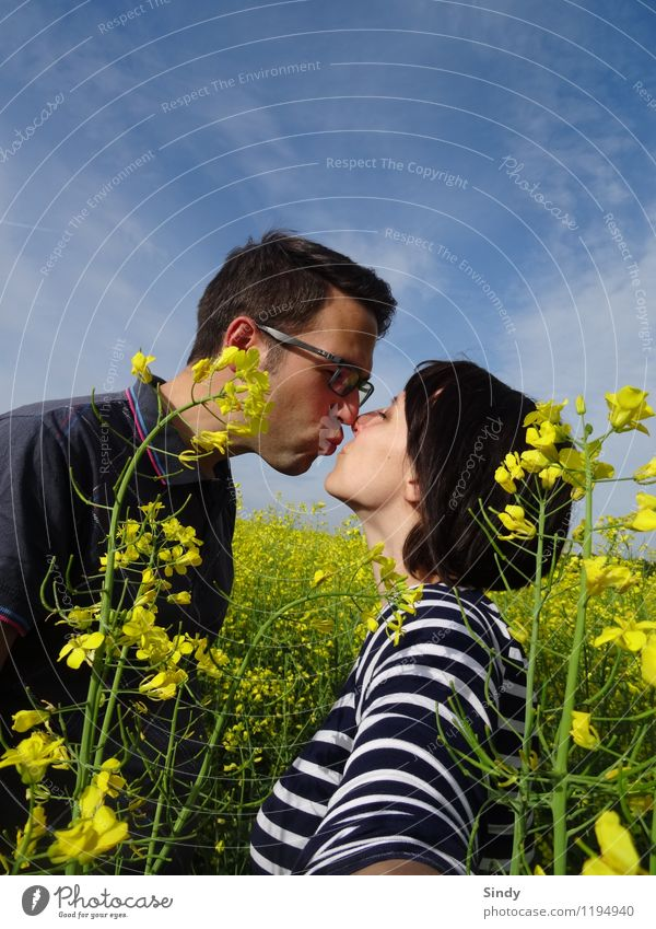 In love with the rape field Joy Happy Trip Freedom Sun Masculine Feminine Couple 2 Human being 18 - 30 years Youth (Young adults) Adults Sky Spring Summer