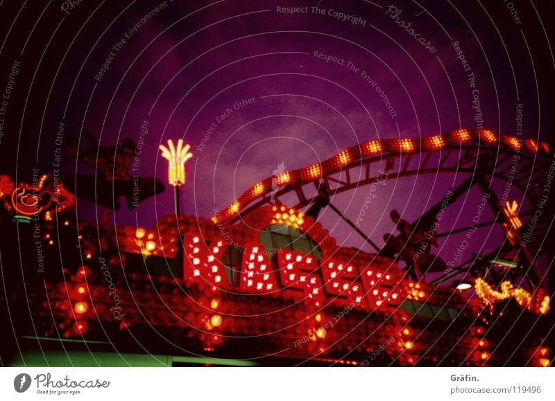 Sky Lighting Violet Fairs & Carnivals Word Graphic Cash register Roller coaster Neon sign Fairy lights Capital letter Power consumption Heiligengeistfeld