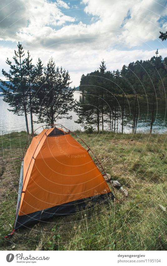 Tent in front of mountain dam Relaxation Leisure and hobbies Vacation & Travel Trip Camping Summer Nature Landscape Sky Tree Lake Green Dam water Rural