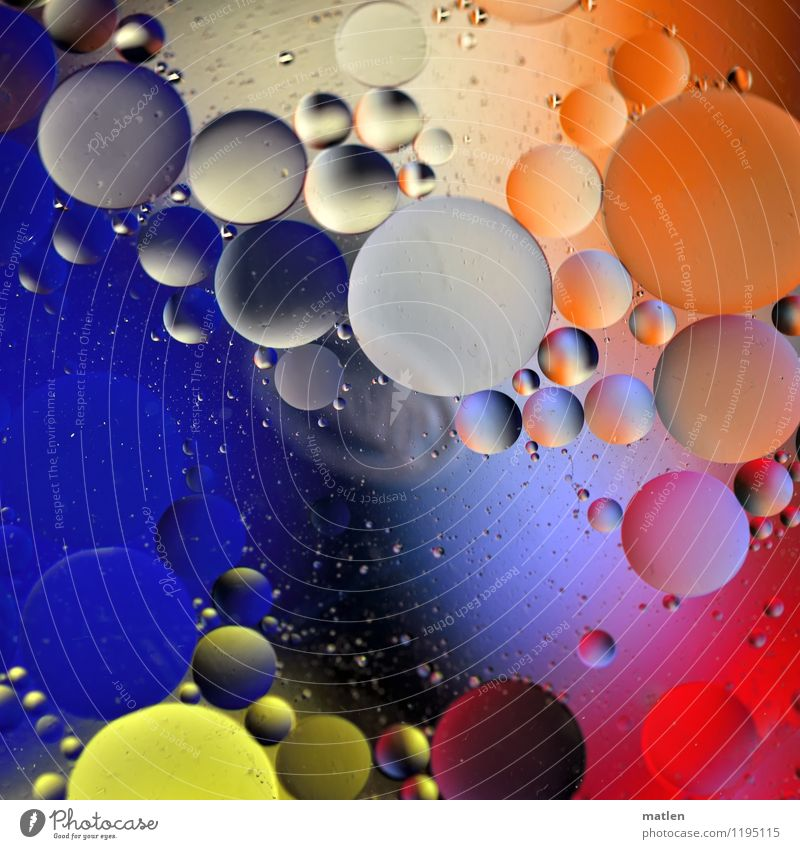 bubbly Water Sphere Communicate Blue Multicoloured Yellow Gray Orange Red Black White Round Oil polarity Mixture Distributed bubble Abstract Colour photo