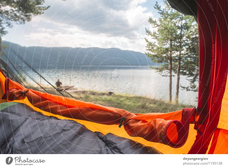 View from inside the tent Luxury Relaxation Vacation & Travel Adventure Camping Summer Sun Hiking Boy (child) Man Adults Family & Relations Feet Nature