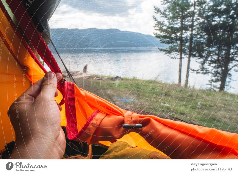 View from inside the tent Nature Vacation & Travel Man Summer Sun Relaxation Landscape Forest Adults Boy (child) Funny Family & Relations Feet Wild Hiking
