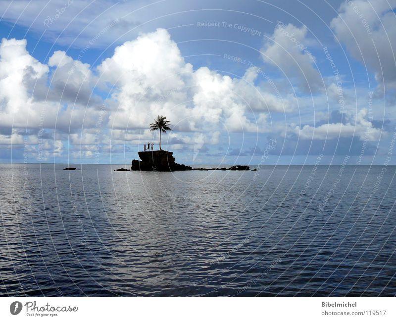 Sky Blue Water Summer Tree Ocean Loneliness Calm Clouds Coast To talk Moody Watercraft Rock Fear Waves