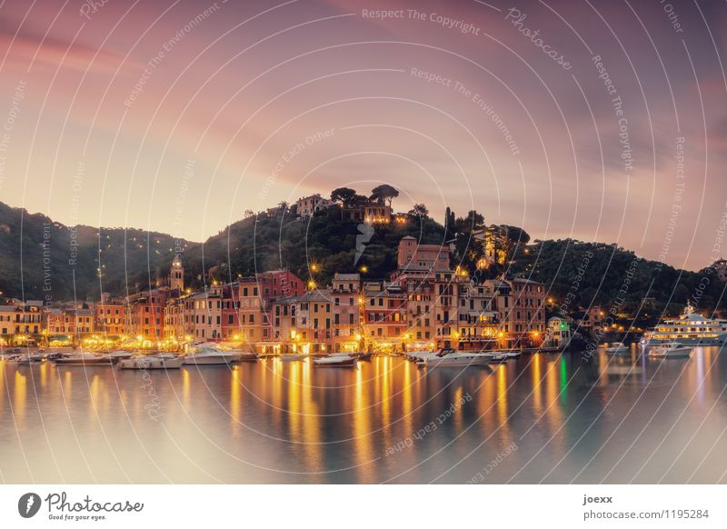 Portofino Vacation & Travel Tourism Summer Landscape Sky Clouds Beautiful weather Mountain Coast Bay Italy Fishing village House (Residential Structure) Facade