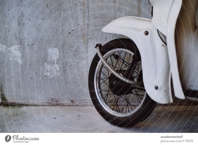 Wheel on is better than wheel off Scooter White Gray Vehicle Wall (building) Concrete Driving Analog Industry hum hum hum Castle Detail Floor covering