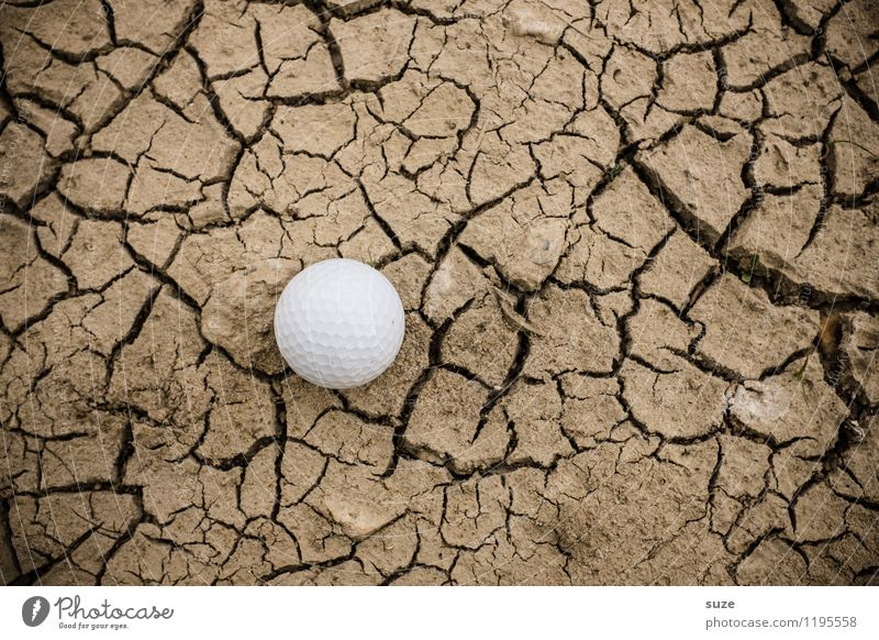 handicap Leisure and hobbies Playing Mini golf Sports Golf Ball Golf course Nature Earth Drought Desert Small Round Dry Brown White Loneliness Frustration