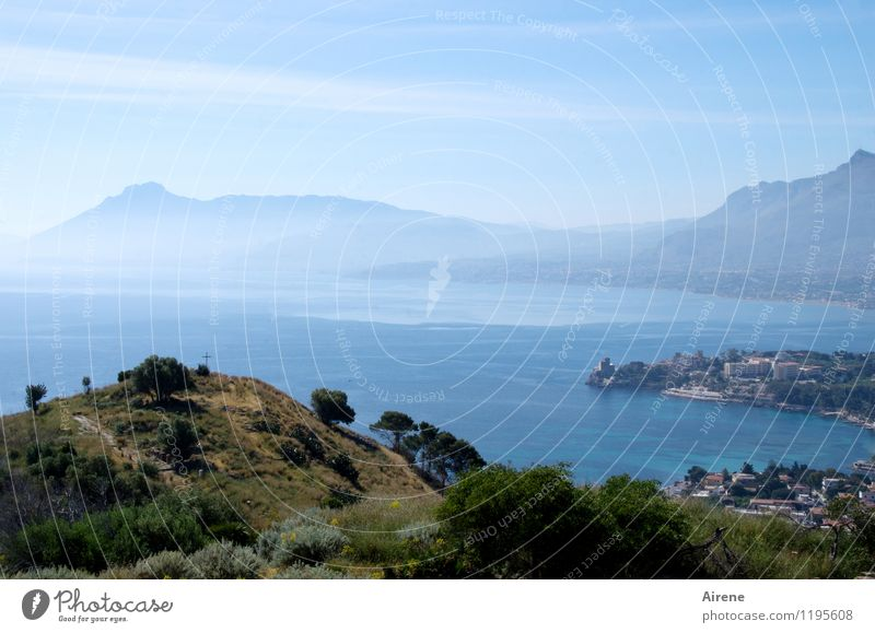 Sky Blue Water Tree Ocean Landscape Coast Religion and faith Bright Air Bushes Free Beautiful weather Italy Sign Peak