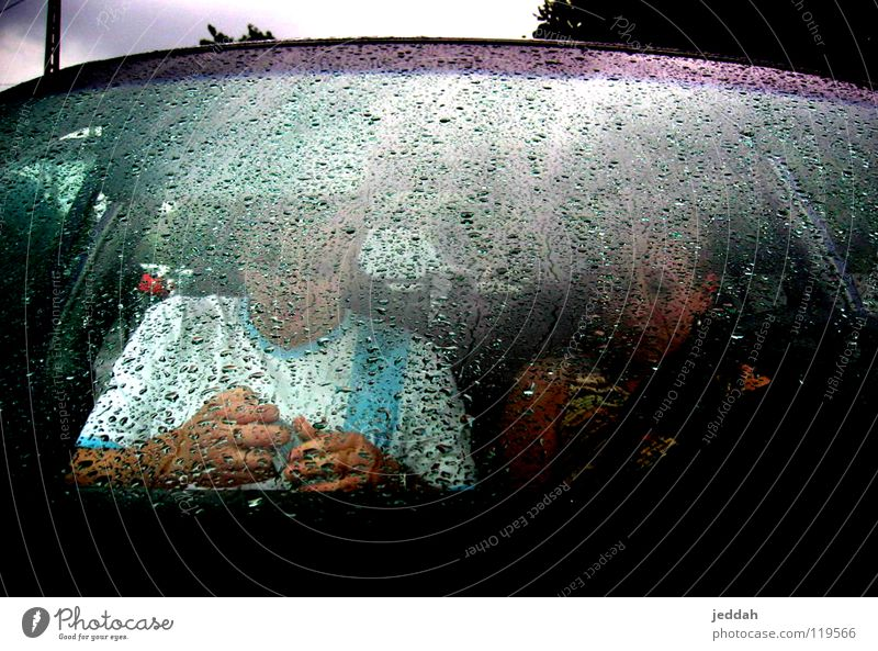 behind the wet window Safety Wet Cologne Thunder and lightning Rain Drops of water Couple Car Weather rescued