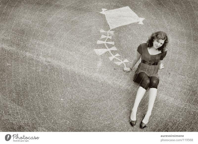 Girl White Black Floor covering Leisure and hobbies Kite