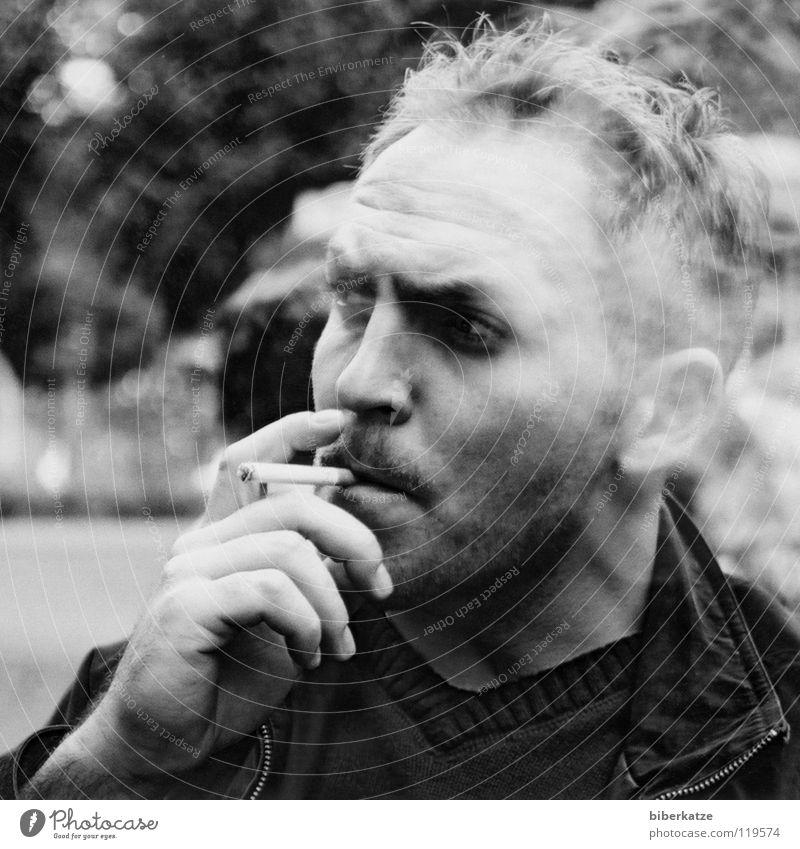 undergone Smoking Cigarette Smoke Man Nicotine Cool (slang) Macho Hand Portrait photograph Fingers Facial hair Masculine Delicious Summer Burn Bans No smoking