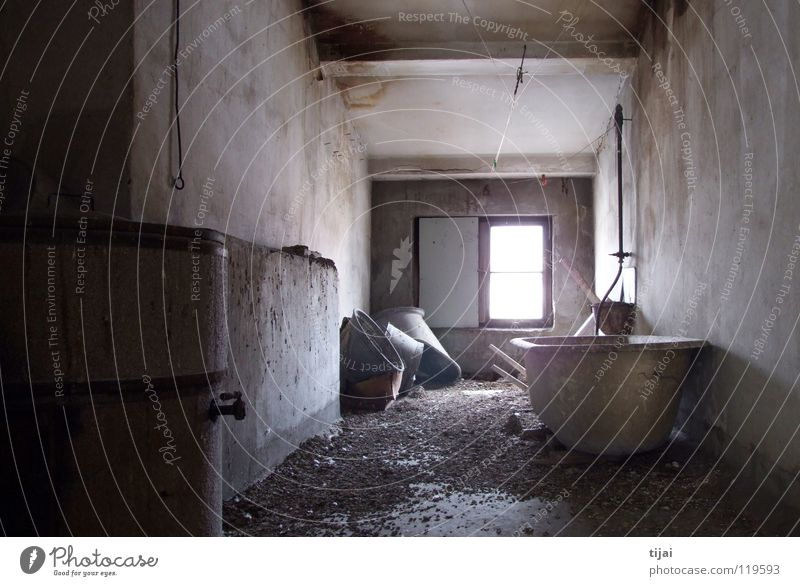 Single room with bathroom Attic Bathtub Window Gloomy Derelict pigeon shit Mold Dirty