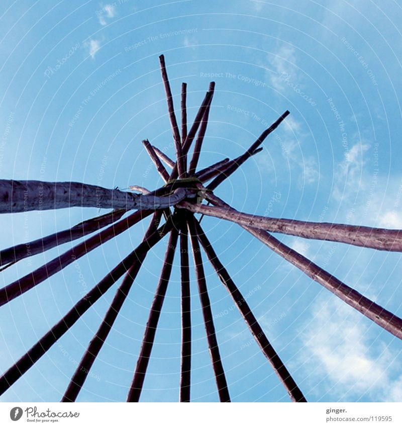 Yippie, it's gonna be a tepee! Exhibition Sky Wood Build Historic Blue Tee Pee Native Americans Crossed Connectedness Aspire Rod Skyward Deserted Blue sky