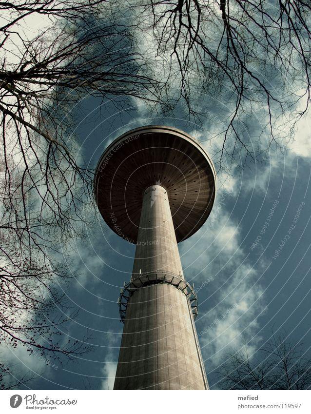 magic mushroom Gray White Might Tree Clouds Concrete Radio technology Television Digital television Stalk UFO Extraterrestrial Landmark Monument Sky Blue