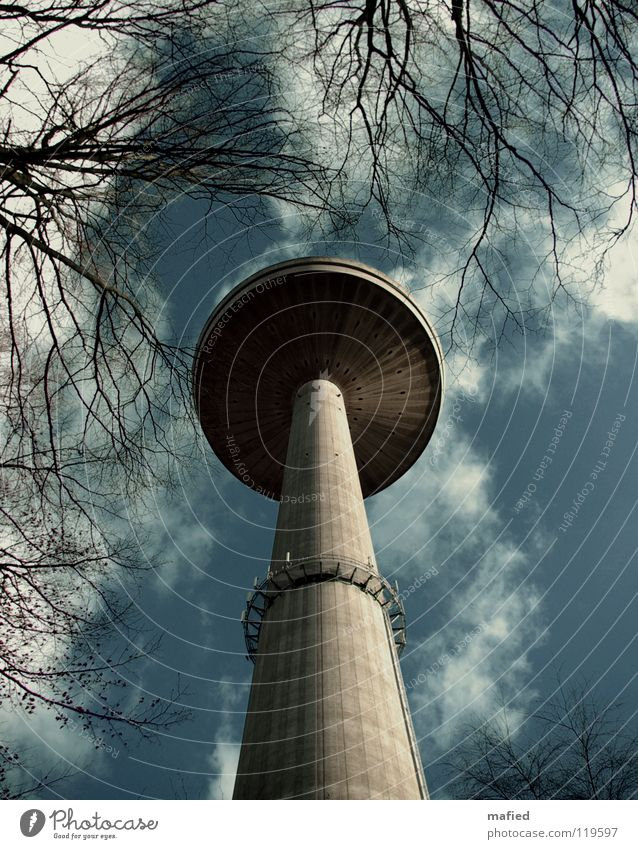 Sky White Tree Blue Clouds Gray Concrete Large Tall Might Television Tower Stalk Monument Mushroom Radio (broadcasting)