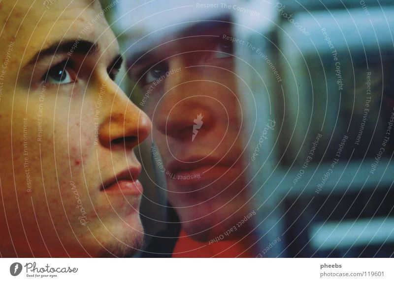 his second me Man Reflection Railroad Window Portrait photograph Silhouette Youth (Young adults) Nose Face Eyes Blue Mouth Profile