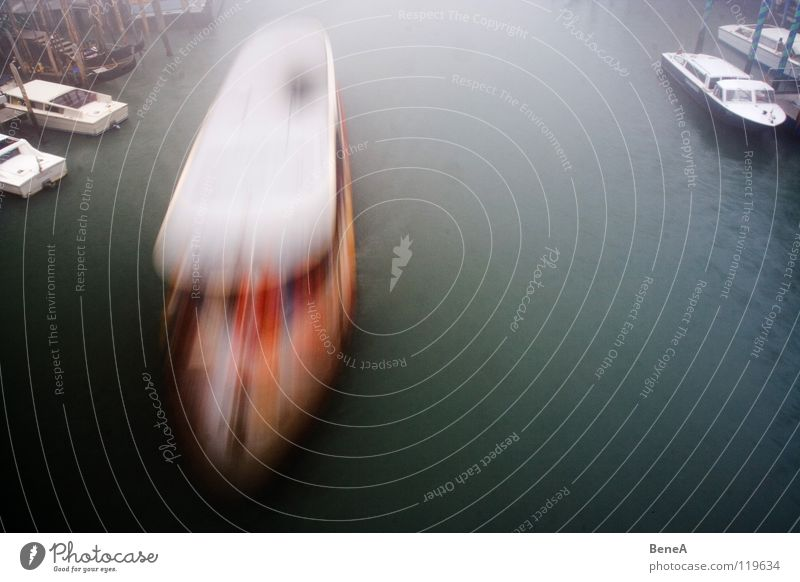 boat trip Watercraft Surface of water Ferry Long exposure Venice Italy Vacation & Travel Calm Speed Light Public transit Transport Harbour River Dynamics