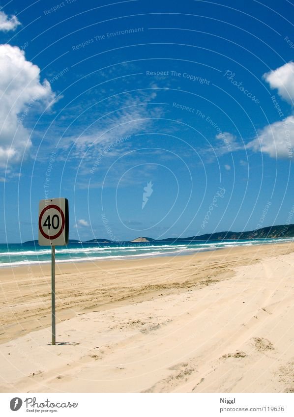 maximum 40 Beach Ocean Australia Queensland Summer Vacation & Travel Loneliness Speed Speed limit Waves Pacific Ocean Transport Clouds Coast Sky Tracks Water