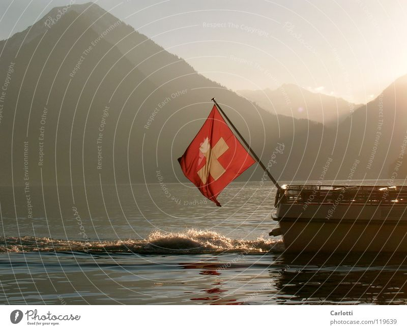 Switzerland Lake Lucerne Flag Watercraft Mountain Sun