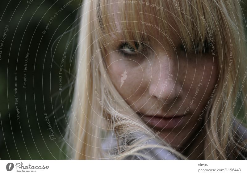 . Feminine Woman Adults 1 Human being Blonde Long-haired Bangs Observe Think Looking Wait Watchfulness Disappointment Loneliness Exhaustion Dangerous Disbelief