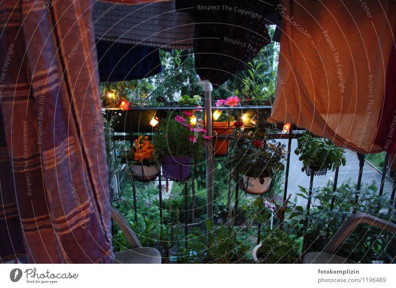 dark_coloured_evening Balcony Fairy lights Balcony plant balcony flowers clothesline Laundry Moody Romance Calm Longing relaxation Idyll Loneliness