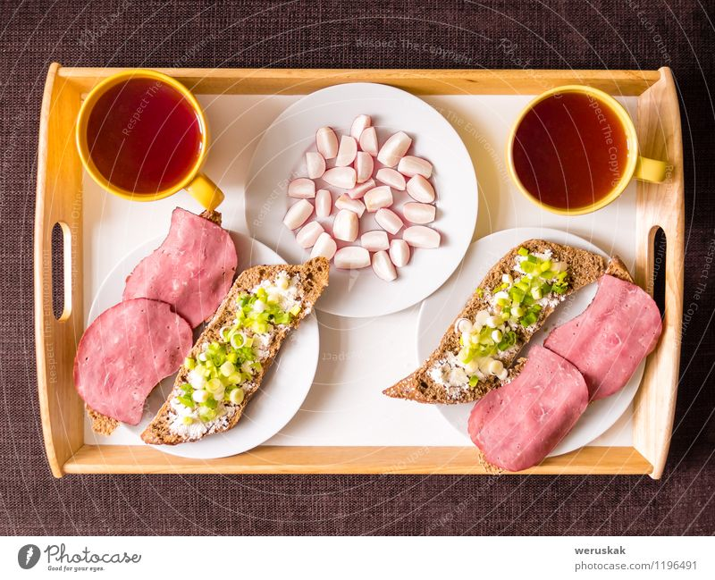 Homemade breakfast: bread with ham, onions, radish Food Sausage Vegetable Bread Nutrition Breakfast Hot drink Tea Plate Mug Healthy Eating Table Couple Fresh