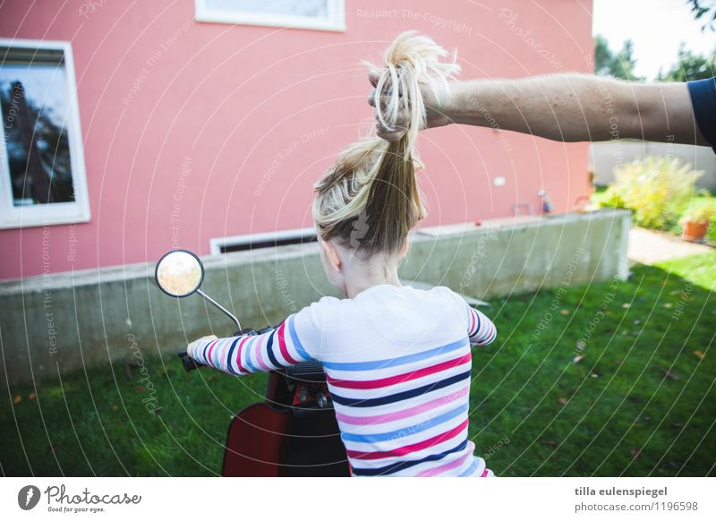 Human being Child Joy House (Residential Structure) Girl Window Adults Wall (building) Meadow Feminine Funny Garden Facade Infancy Blonde Sit